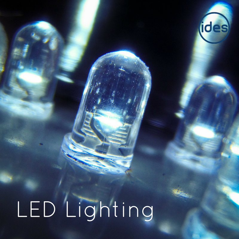 Images of LED lighting, representing a blog by IDES UK, commercial lighting specialists, exploring what makes LED the most cost and energy efficient decision for service, commercial and industrial businesses.