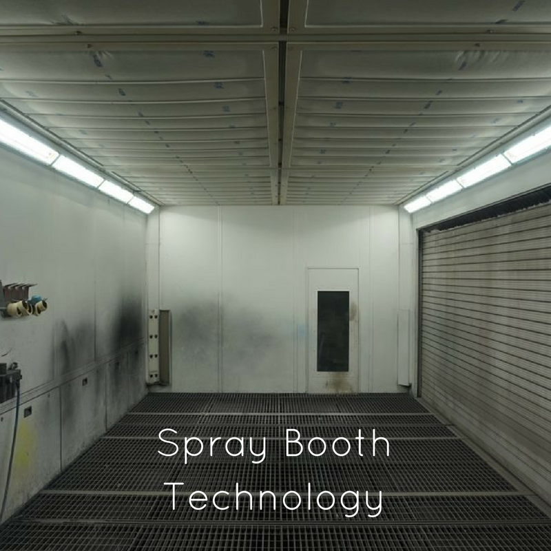 Images of spray painting booths, representing a blog by IDES UK, commercial lighting specialists, exploring what makes spray painting booths safe, and what part good lighting plays in that.