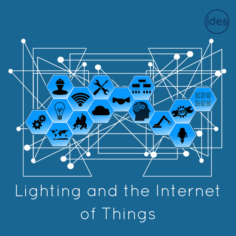 Images illustrating a blog around the connection between LED lighting, lighting for businesses and the Internet of Things.