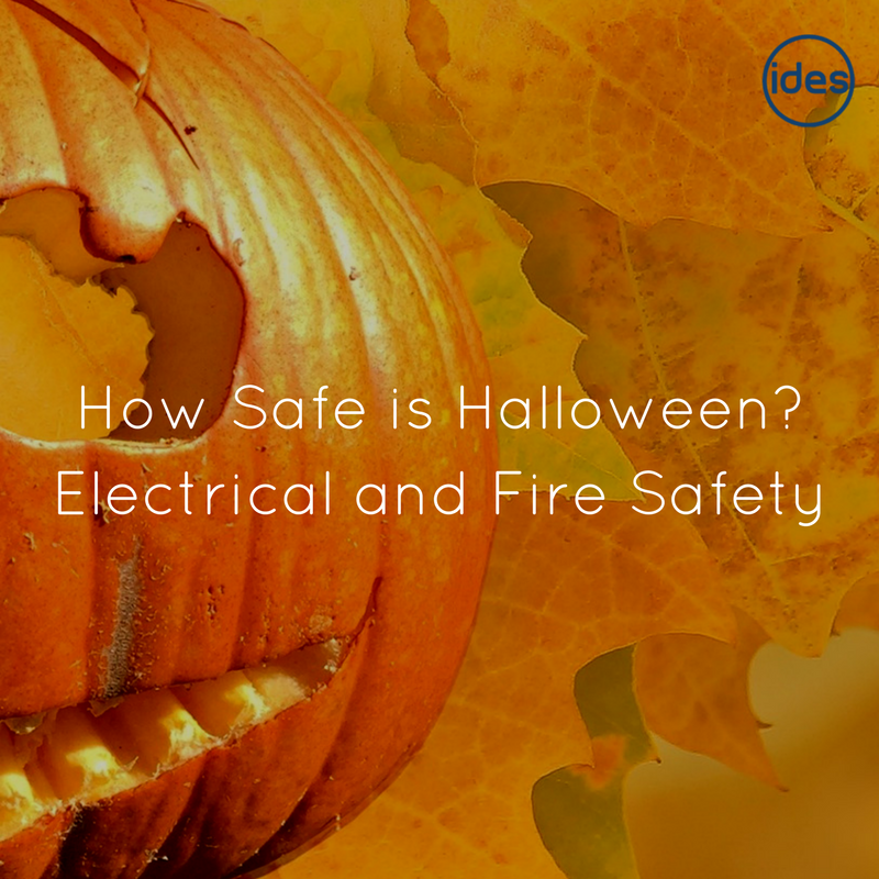 Images illustrating a blog about electrical and fire safety at Halloween